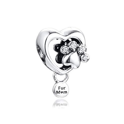 LIIHVYI Pandora Charms para Mujeres Cuentas Plata De Ley 925 Corazón con Estampado De Pata Brillante De Joyería Compatible con Pulseras Europeos Collars