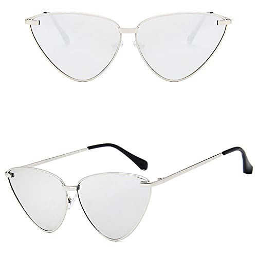 WQZYY&ASDCD Gafas de Sol Gafas De Sol De Ojo De Gato para Mujer, Gafas De Sol De Metal A La Moda, Sombras Femeninas, Lentes De Espejo De Color Oceánico, Gafas De Ojo De Gato Uv400-Plata