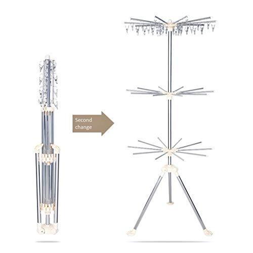Perchero para abrigos Metálicos de ropa plegable de suelo en bastidor de instalación libre listo for usar a prueba de viento de diseño ropa de los niños de estante perchero de pie ( Color : Silver )