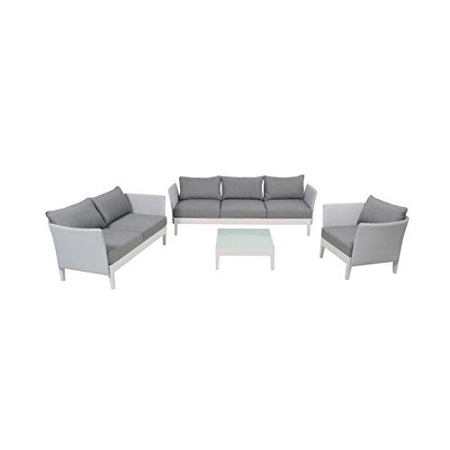 greemotion Lounge-Set Memphis, 4-teiliges Aluminium-Loungeset für indoor und outdoor, Loungemöbel-Garnitur mit Liegefunktion, grau / weiß
