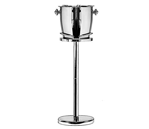 EDZARD Sektkühler auf Fuss Geneva, Höhe 85 cm, Kühler inkl. Fuß und Gläserhalterung, Edelstahl