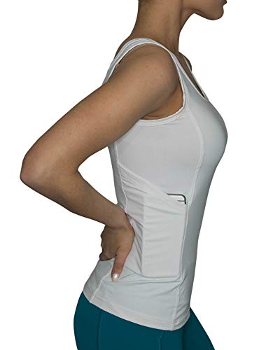Vockets Hidden Pocket Women's Tank Top -Discreet Pocket Tanks for Cell Phones SM WHT
