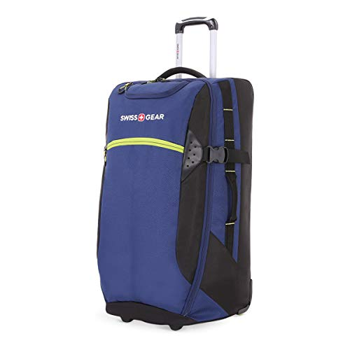 SWISSGEAR 6532 Extra-Large Lightweight Rolling Duffel | 8-Day Capacity Wheeled, Soft-Shell Luggage | Men's and Women's - Blue/Green