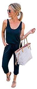 Longwu Mujer Casual Suelto Sin Mangas Mono Cordón de Cintura Mamelucos en General con Bolsillos Negro-L