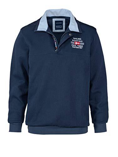BABISTA Herren-Sweatshirt mit Kragen – bestickter Freizeit-Pullover aus Reiner Baumwolle, Sportiver Langarm-Pulli in Blau, Gr. 48