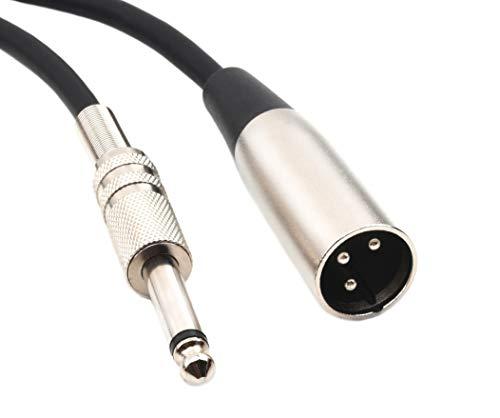 Devinal XLR auf 6,35 mm Mono Kabel, XLR-Stecker auf 1/4 Zoll TS Stecker Audio Kabel, 6,35 mm auf XLR Mikrofon Unsymmetrisches Kabel für Verstärker, Instrumente etc. 1,8 Meters