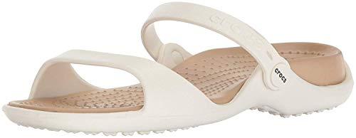 Crocs Cleo, Sandalias de Punta Descubierta para Mujer, Blanco (Oyster/Gold 13S), 37/38 EU