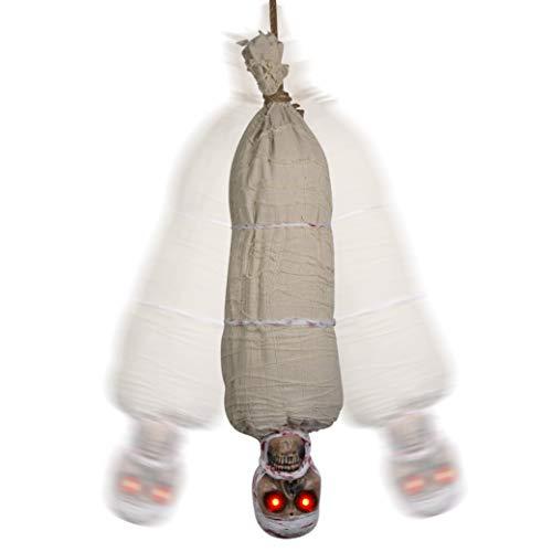 Tuparka 40 Pulgadas de Halloween Cocoon Corpse Cadáver Colgante Animado con Ojos Rojos Brillantes Juguetes de Fiesta de Halloween, decoración de utilería de la casa embrujada de Halloween