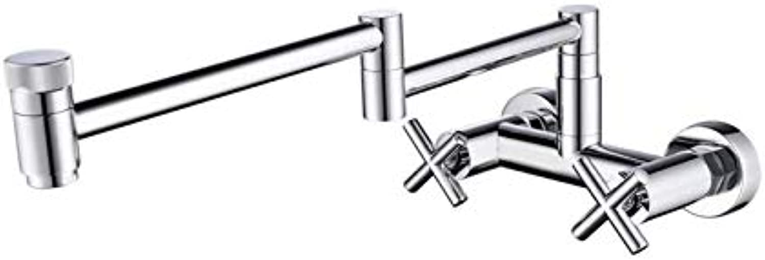 Water Taptaps Faucet Copper Chrome Plated Kitchen Faucet Universal redating Hot and Cold Water Basin Faucet Folding Double Switch Sink Faucet