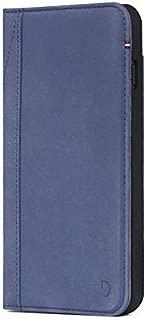 DECODED Wallet Case for iPhone 8 Plus / 7 Plus Case / 6s Plus / 6 Plus, Premium Full-Grain Leather, Elastic Closure, 3 Card Holder, Shock Proof, Folio, Wireless Charge - (Light Blue)