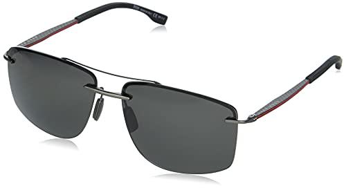 BOSS by Hugo Boss BOSS 1033/F/S Gafas de sol cuadradas polarizadas, rutenio oscuro, 64 mm, 15 mm