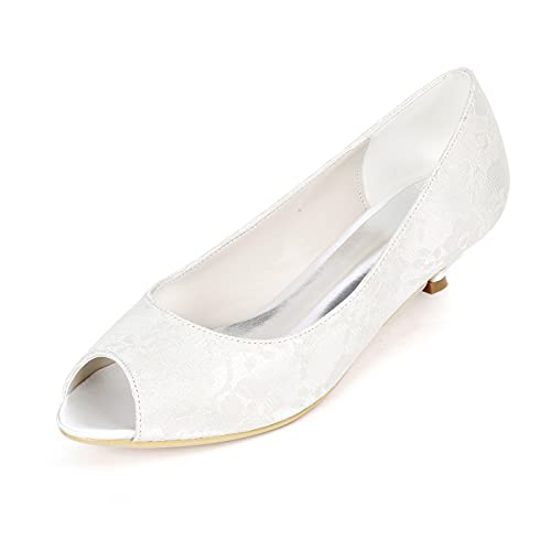 Zapatos de Novia Punta Abierta para Mujer Encaje Satén Tacon Bajo Zapatos...