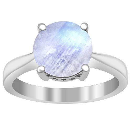 Shine Jewel Juego de Puntas 2.75 Ctw Rainbow Moonstone Anillo Solitario de Plata esterlina 925 (11)