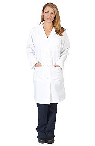 Natural Uniforms Unisex 40 inch Lab Coat Long Sleeve Professional Medical Coat, White (Medium)