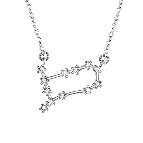 BriLove 925 Sterling Silver Necklace for Women - Gemini Constellation Necklace Zodiac 12 Horoscope Astrology CZ Pendant Necklace Birthday Gift Clear