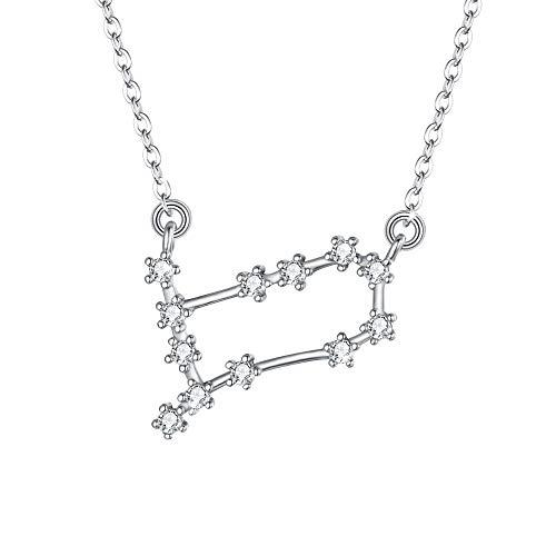 Clearine Halskette Sternzeichen 925 Sterling Silber CZ- Zwillinge Sternbild 12 Horoskop Astrologie Anhänger Kette klar für Damen Mädschen