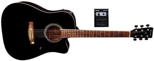 Tenson F501326 Akustikgitarre D10-CE, Cutaway Elektro-Acoustic, schwarz