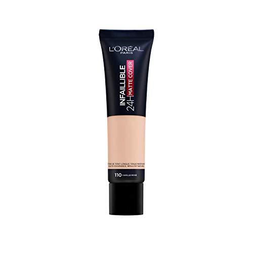 L Oréal Paris MakeUp Infaillible 24h Mat Cover, Fondotinta Coprente, Finish Matte, Formula a Lunga Durata, 110 Vanille Rosé, 30 ml