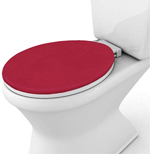 Gorilla Grip Original Thick Memory Foam Bath Room Toilet Lid Seat Cover, Many Colors, 19.5x18.5, Machine Washable, Plush Fabric Covers, Fits Most Size Toilet Lids for Kids Bathroom, Red