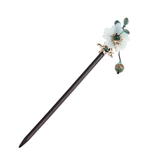 PIXNOR Hair Stick Vintage Blume Haarnadel Grüne Perlen Quaste Haar Essstäbchen Frauen Haarschmuck