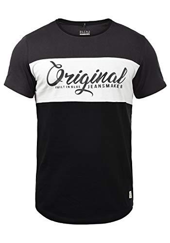 Blend Nero Herren T-Shirt Kurzarm Shirt Print Mit Streifen Und Rundhalsausschnitt, Größe:L, Farbe:Black (70155)