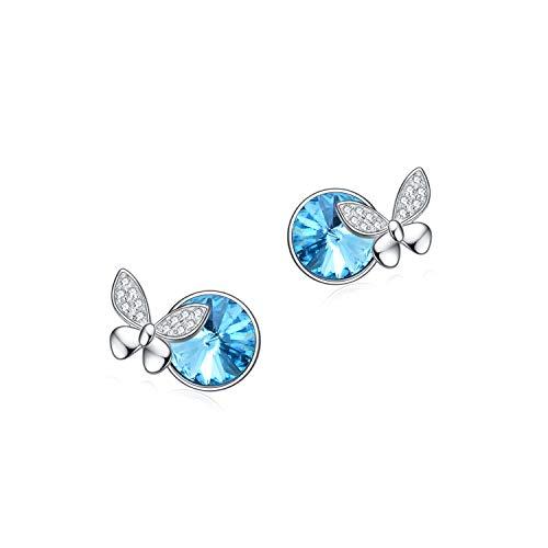 Butterfly Stud Earrings for Women Sterling Silver, Aqumarine Blue Crystal Butterflies Jewelry Gifts for Girlfriend Teens Girls