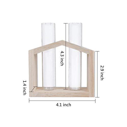 Ltong kristalglas reageerbuisvaas in houten standaard bloempotten voor hydrocultuurplanten Huis Tuindecoratie, dubbele fles
