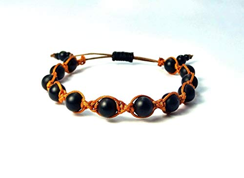Shamballa-Armband aus Jade Naturstein Perlen mit'chesnut brown' Macramee Band, verstellbar ab 17cm
