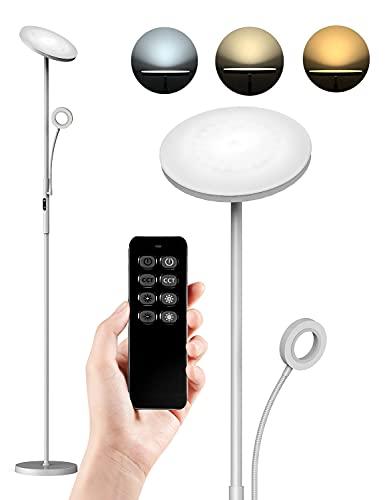 Anten København| Stehlampe LED Dimmbar 30W Deckenfluter mit Verstellbare 5W Leselampe,Touch Stehleuchte,Modern Standleuchte ,für Wohnzimmer Schlafzimmer Büro,Silber-Grau