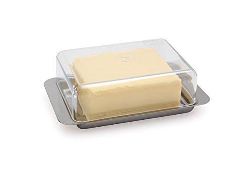 XTRA PREISWERTE Kühlschrank-Butterdose, Boden aus Edelstahl 18/0, Deckel aus Polystyrol, spülmaschinengeeignet / 18 x 12,5 x 5,5 cm | SUN