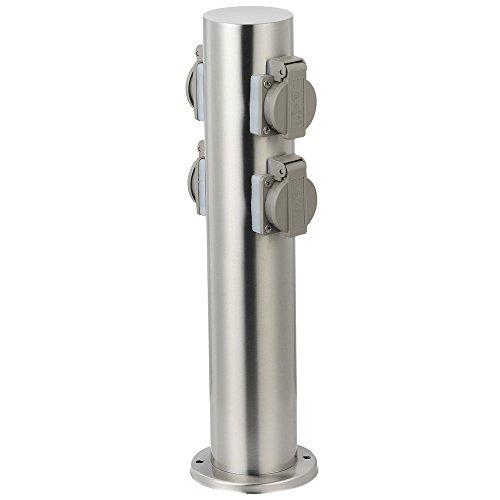 Grafner Edelstahl Design Gartensteckdose mit 4 Steckdosen, IP44, rund, Klarlack-Beschichtung, Energiesäule Mehrfachsteckdose Outdoor Metall Außensteckdose 4-fach