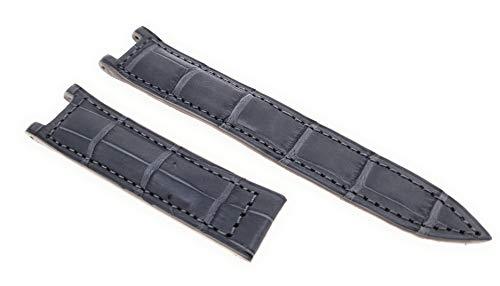 Correa de reloj para Pasha de Cartier, color gris, cierre plegable de piel de cocodrilo, 20 mm, fabricado en Alemania