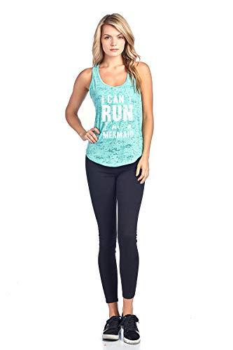 Tough Cookie's Women's I Can't Run, I'm A Mermaid Burnout Tank Top (Medium - LF, Mint)