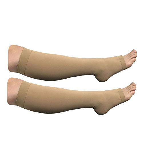 HealthyNees Big Tall Plus Size Wide Calf & Extra Wide 20-30 mmHg Open Toe Medical Compression Leg Swelling Circulation Men Women Socks (Beige, Extra Wide Calf 5XL)