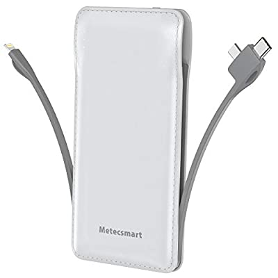 Portable Charger with Built in Cable, Metecsmart 10000mah Power Bank