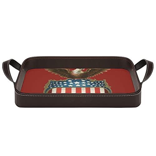 Bandejas de servir con asas, diseño vintage patriotismo, águila orgullosa sobre la bandera americana de 34,5 x 22,6 cm, bandeja decorativa para café, desayuno, postre