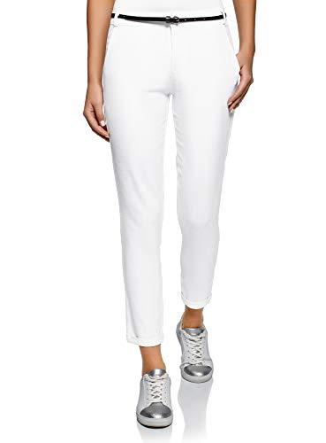 oodji Ultra Femme Pantalon Fuselé avec Ceinture, Blanc, FR 40 / M