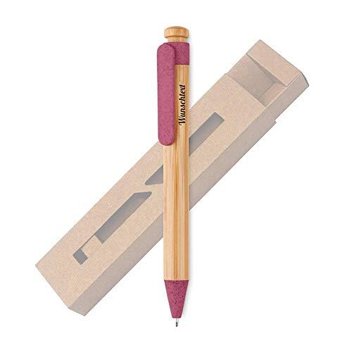 Personalisierter Öko Holz Kugelschreiber Stift mit Name Gravur | Geschenk für Geburtstag, Abschied, Weihnachten | nachhaltig | Bambus, Weizenstroh | blauschreibend (rot)