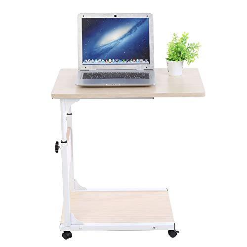 Escritorio para ordenador portátil extraíble, mesa de cama con ruedas, multiusos, altura regulable, mesa de sofá lateral, de MDF y metal, 60 x 40 x 55 – 80 cm (arce blanco)