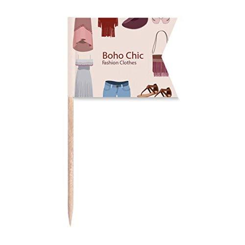 Beauty Gift Bohe mia Wind Fashion Clothes Girl Markierung für die Kennzeichnung von Zahnstocher-Flaggen