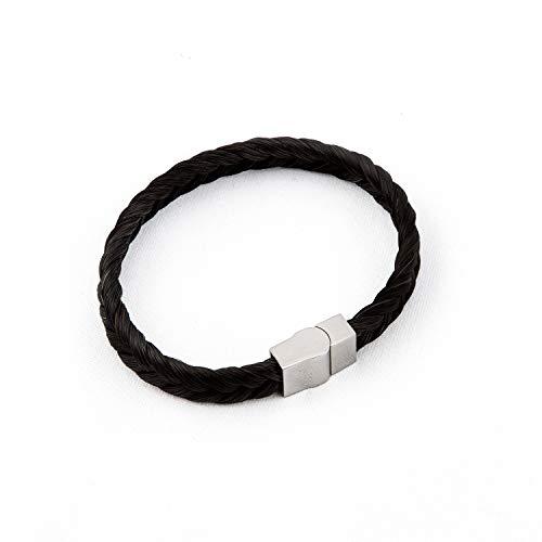 Damen Armband aus Pferdehaar, handgefertigt, Kollektion Groom, 20/21 cm, geflochten, Schwarz