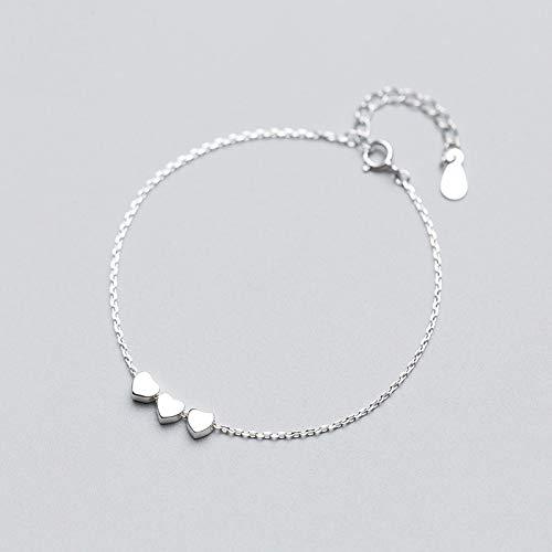 DGFGCS Pulsera de Plata para Mujer 925 Auténtica Plata Esterlina Moda Mujer Joyería 3 Corazón Pulsera 16Cm para Regalo Niñas Dama