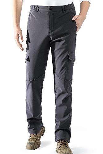 AOLI RAY Herren Wasserdicht Gefüttert Winddicht Softshellhose Winterhose Warm Wanderhose Skihose Outdoorhose mit Multi Taschen Grau L