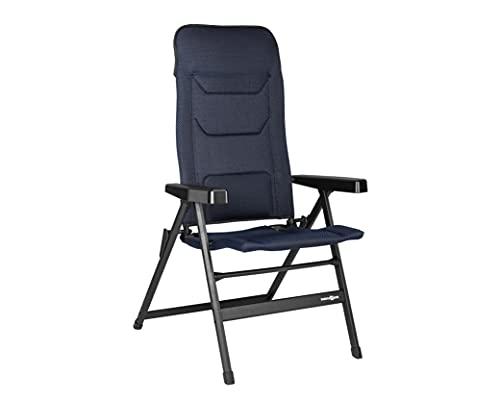 BRUNNER Medium Rebel Pro-Silla Plegable de Camping (S-M-L) para jardín, terraza de Aluminio, Ajustable en 5 Posiciones, con Capacidad de Carga hasta 150 kg, Respaldo Alto, Negro, Azul Oscuro