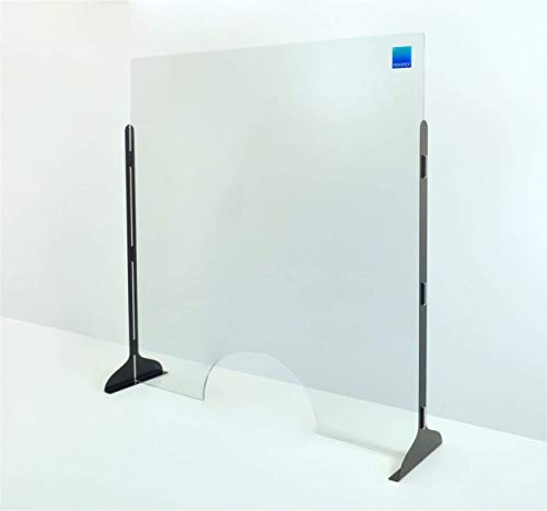 Protective Sneeze Guard in 5 Different Sizes, Portable or Permanent Adhesive Mount, Easy Installation, Stable Structure with Metal Legs in 4 Different Colors, With or Without Transaction Window