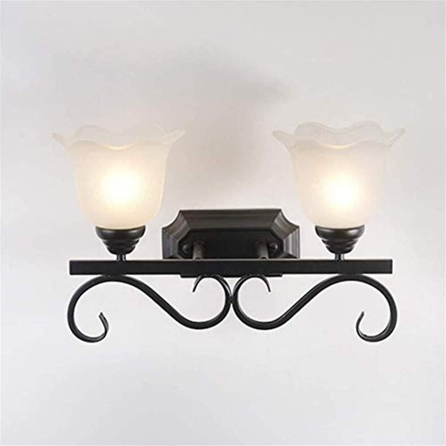Lichtmodern Minimalist Wrought Iron Wall Lamp, Bedroom, Bedside, Hotel Lamp,Monochromeled,Doublehead [Energy Class A]