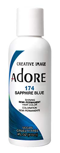Adore Semi-Permanent Haircolor #174 Sapphire Blue 4 Ounce (118ml) (Pack of 2)