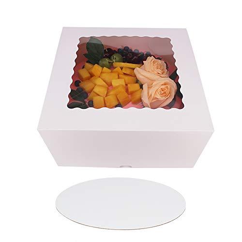ZMCYN 25,4 x 25,4 x 12,7 cm weiße Kuchenboxen mit Fenster, extra 10 Kuchenbretter, langlebige quadratische Kuchenboxen für Lebensmittel, Bulkkuchenbox für Geburtstag, Partys und Hochzeiten (10 Stück)