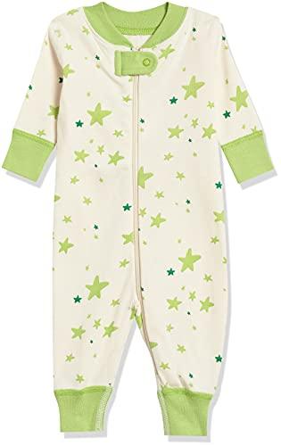 Moon and Back de Hanna Andersson - Pijama de una pieza sin pies hecho de algodón orgánico para bebé, Verde lima (Lime Green), 0-3 messes (46-56 CM)
