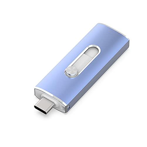 KEXIN 64GB USB C Pendrive Dual OTG Memoria USB 3.1 Pen Drive 2 en 1 Memory Stick Flash USB 3.1 Memoria Retráctil de 64GB para PC Computadora y Tipo C Teléfono Móvil, Azul
